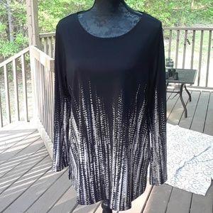 Susan Graver women's large black long sleeve top